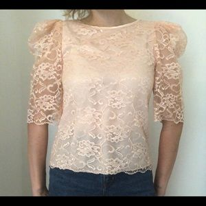 Light Pink Lace Dramatic Puff Sleeve Top Vintage